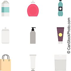 Food, drink, cosmetic package icons set flat style