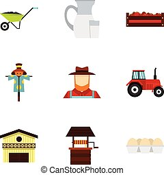 Farming icons set, flat style - Farming icons set. Flat...