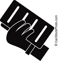 Brick in a hand icon, simple style - Brick in a hand icon....