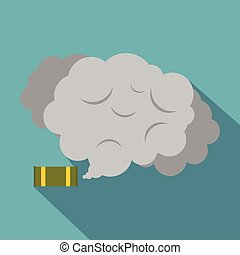 Tear gas canister icon, flat style - Tear gas canister icon....