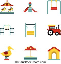 Children playing elements icons set, flat style - Children...