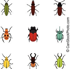Insect icons set, flat style