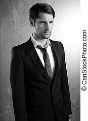 Classic elegant suit handsome man portrait
