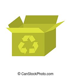 yellow box open with recycle symbol icon