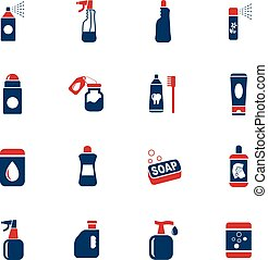 household chemicals icon set - household chemicals web icons...