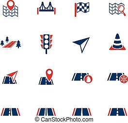road icon set - road sign web icons for user interface...