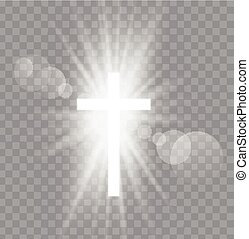 Religioush three crosses with sun rays transparent...