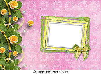 Beautiful greeting card with yellow roses and paper frame -...