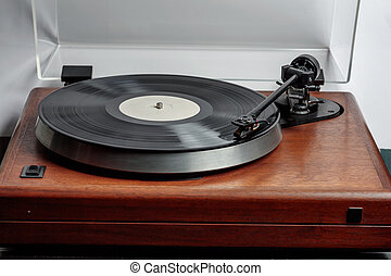 retro record deck - LP spinning on an audio turntable