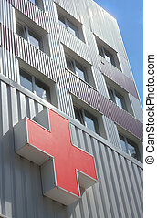 Red Cross - Red cross on hospital building