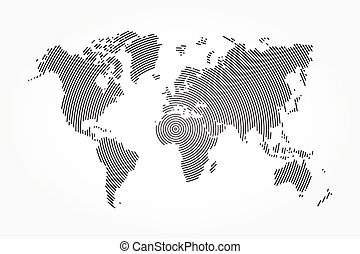 World map and whorl line .