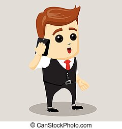 Business Motivation Leadership. Businessman talking on the cell phone.