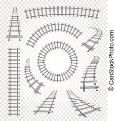 Isolated curvy and straight rails set, railway top view...