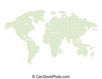 Isolated green color worldmap of dots on white background,...