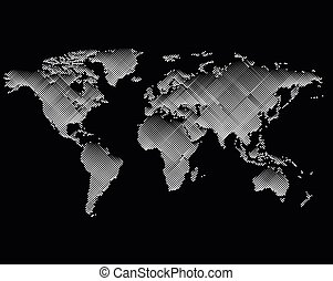 Isolated black color worldmap of lines background, earth...
