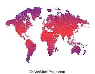 Isolated pink color worldmap of dots on white background,...