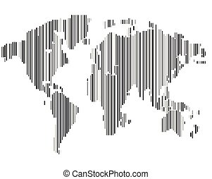 Isolated striped black and white color worldmap background,...