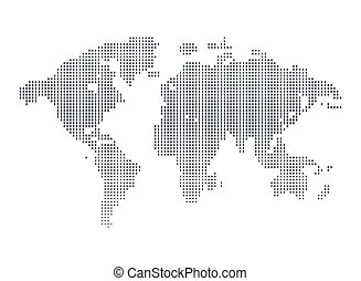 Isolated black and white color worldmap of dots background,...