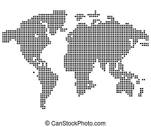 Isolated black color worldmap of dots on white background,...