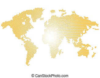 Isolated yellow color worldmap of dots on white background,...