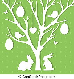 Easter paper decoration in form of Easter tree with eggs and...