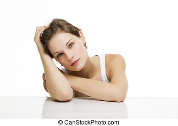 young beautiful woman with white backround