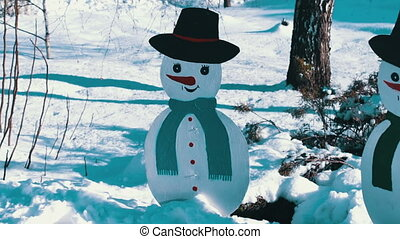 The cardboard figure of a snowman - Winter snow-covered path...