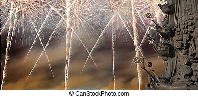 Fragment monument to Peter the Great and fireworks, Moscow,...