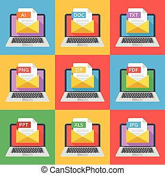 Laptops with envelopes and documents with different...