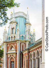 Tower of Tsaritsyno palace - Close-up view of tower of...