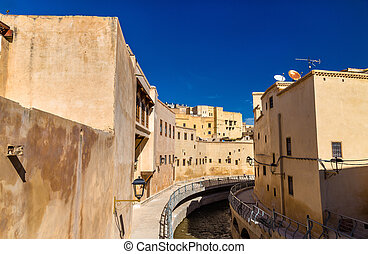 Oued Bou Khrareb, a river in the center of Fes, Morocco -...