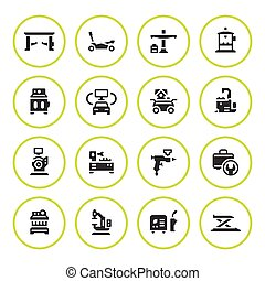 Set round icons of car service equipment isolated on white....