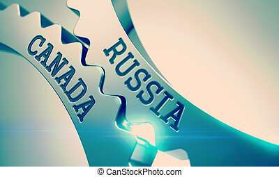 Russia Canada - Inscription on the Mechanism of Metal Cog...