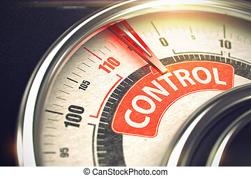 Control - Caption on Conceptual Dial with Red Needle. 3D. -...