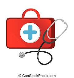 red suitcase health with stethoscope icon