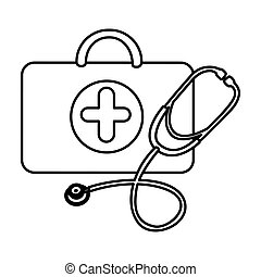 figure suitcase health with stethoscope icon