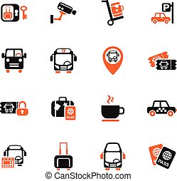 bus station icon set - bus station web icons for user...