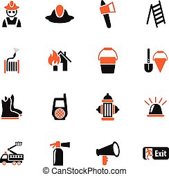 fire brigade icon set - fire brigade web icons for user...