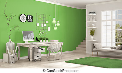Home workplace, scandinavian white and green room, corner office, classic minimalist interior design