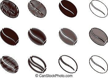 coffee bean - vector brown color, scribble - Coffee Bean -...
