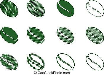 coffee bean - vector green color, scribble - Coffee Bean -...