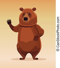Happy kind friendly bear character welcomes and waving his paw. Vector flat cartoon illustration