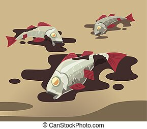 Dead fish covered in oil. Pollution of environment. Vector flat cartoon illustration