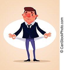 Poor office worker character. No money. Vector flat cartoon...
