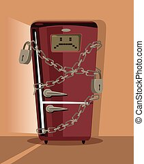 Sad refrigerator character locked with chain. Vector flat cartoon illustration