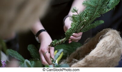 The master class florist clears fir branch of needles for...