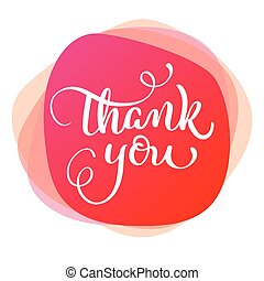 text thank you on red background. Calligraphy lettering...