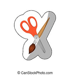 color scissor with paint brush icon