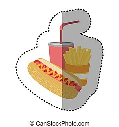 hot dog, soda and fries french icon