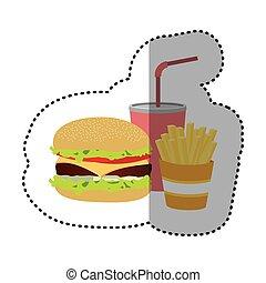 hamburger, soda and fries french icon